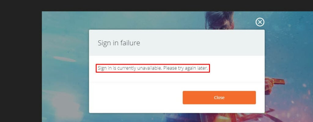 Origin Sign in failure