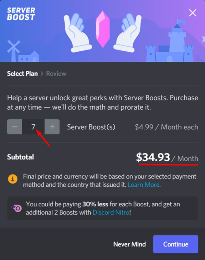 Server Boosts subscription plans and pricing