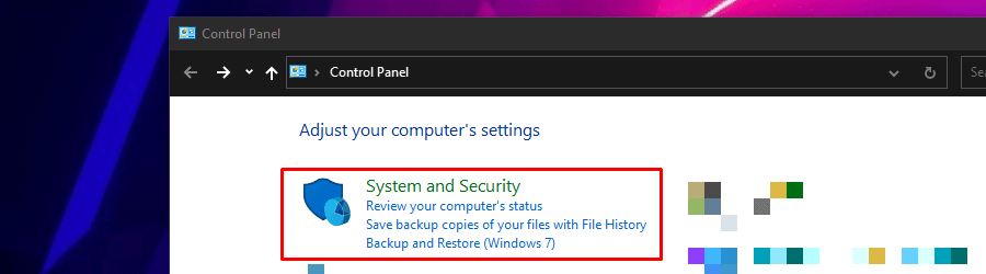 System and Security in Windows 10 Control Panel