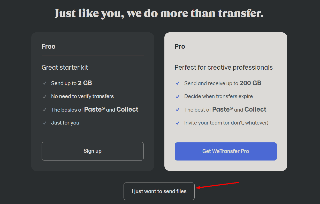 WeTransfer I just want to send files