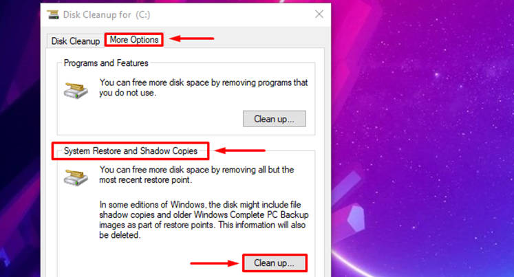 Windows 10 Disk Cleanup restore points