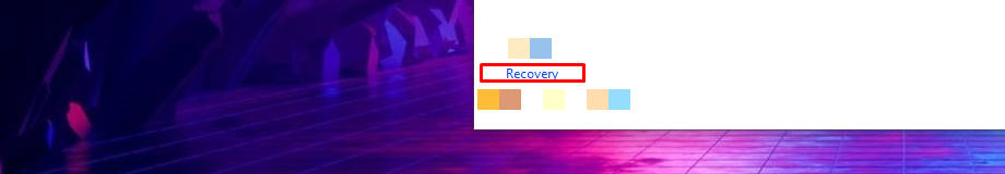 clicking Recovery in Windows 10 File History