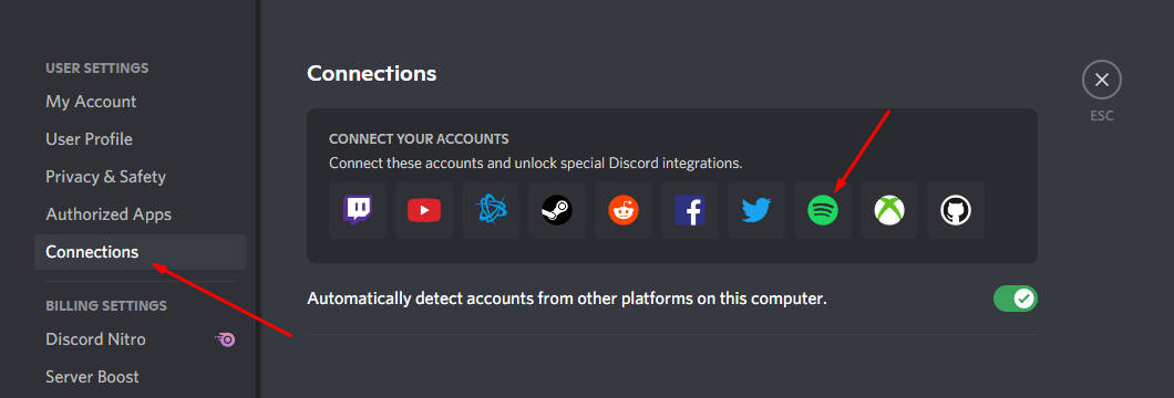 clicking Spotify logo under Discord Connections