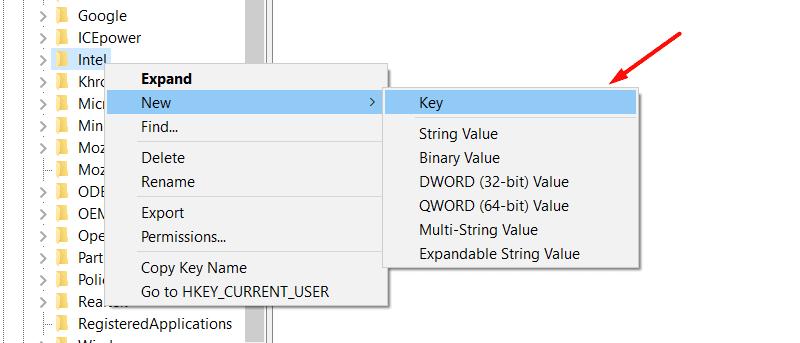 creating new folder in Registry Editor's Intel folder