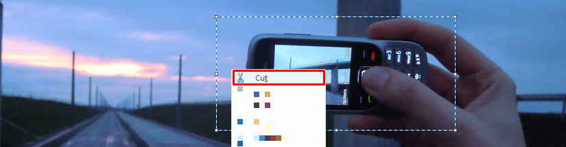 cutting out image part in Microsoft Paint