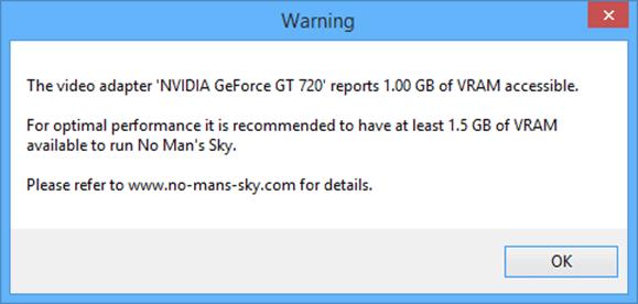 Not enough VRAM warning on No Man's Sky.
