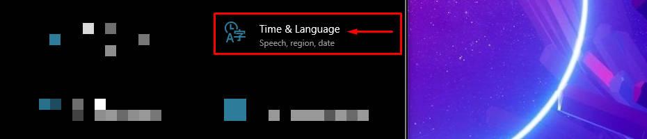 opening Time & Language on Windows