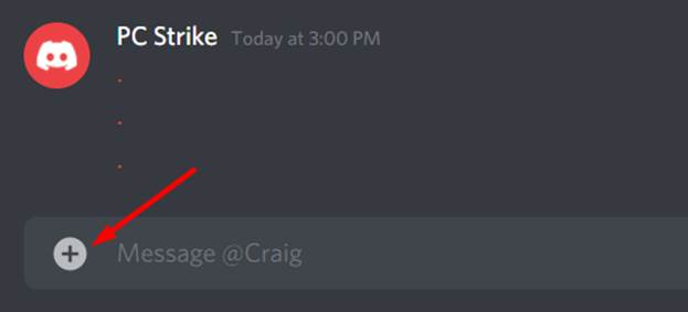 plus icon at bottom left of Discord chat