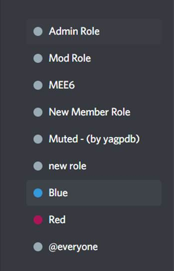 reaction roles blue and red are below MEE6 role