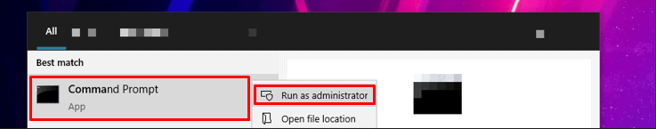 right clicking Windows 10 Command Prompt and selecting Run as Administrator
