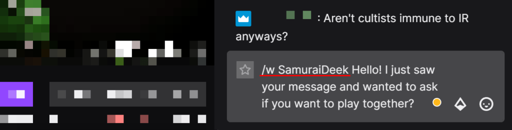typing in slashw Twitch username and message to whisper