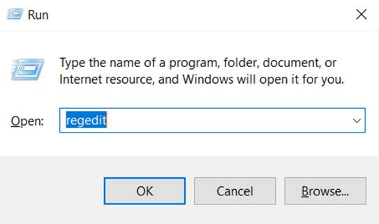 typing regedit to access Registry Editor