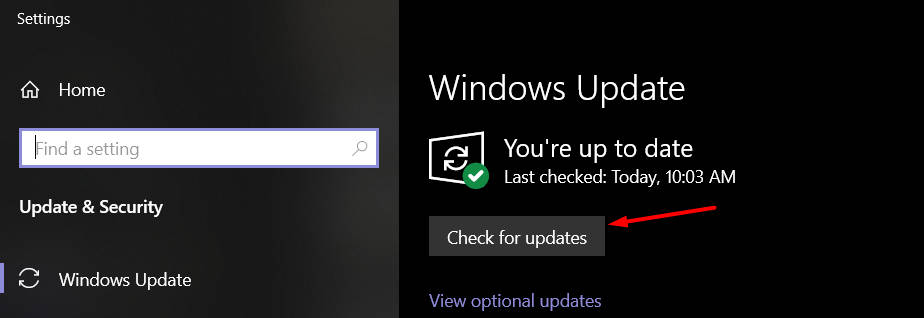Check for updates button under Windows Update
