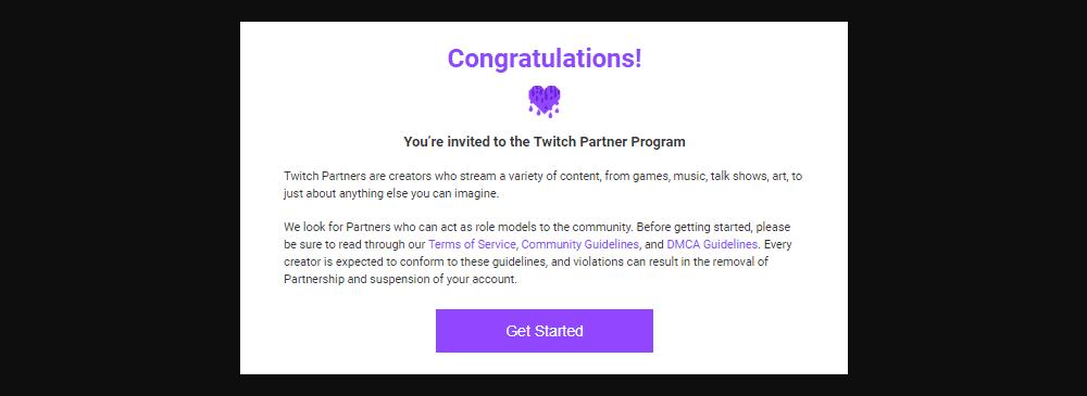 Twitch Partnership Program invitation
