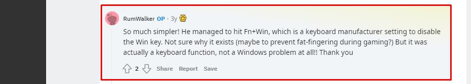 disable Windows key lock using shortcut