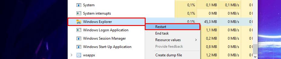 restarting Windows Explorer from Task Manager